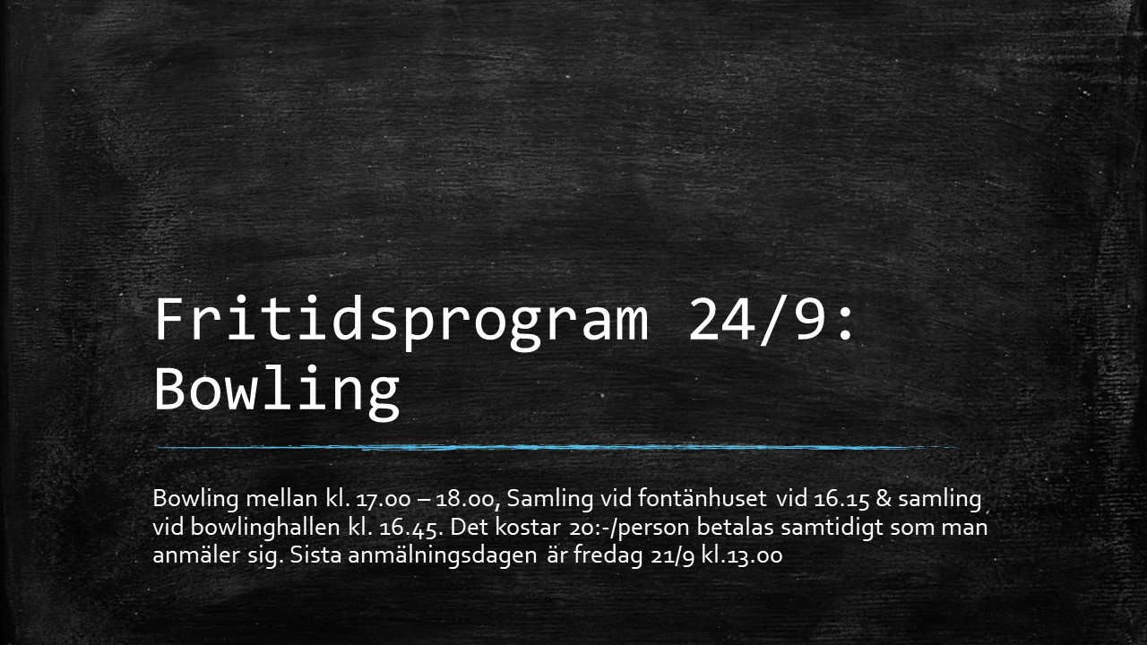 Fritidsprogram 24 sept. Bowling